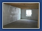 Vinyl backed insulation for basements and crawl spaces.